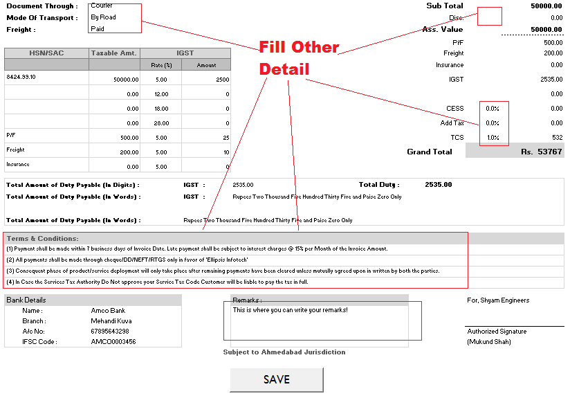 Other Details and Tax Calculation